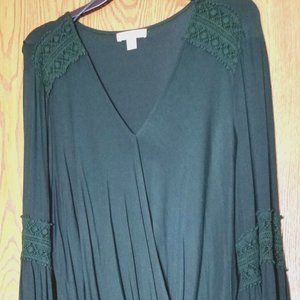 Hunter Green Wrap Top with Lace Detail